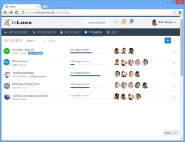 Projektliste in InLoox Web App